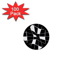 Black and white abstract flower 1  Mini Buttons (100 pack)
