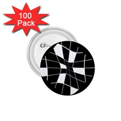 Black and white abstract flower 1.75  Buttons (100 pack)