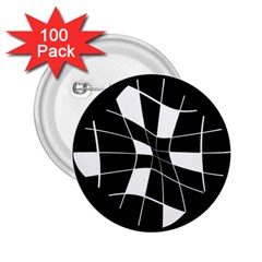 Black and white abstract flower 2.25  Buttons (100 pack)