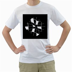 Black and white abstract flower Men s T-Shirt (White) (Two Sided)