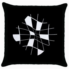 Black and white abstract flower Throw Pillow Case (Black)