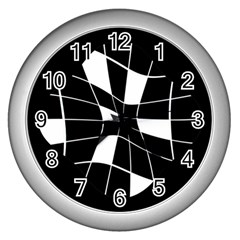 Black and white abstract flower Wall Clocks (Silver)