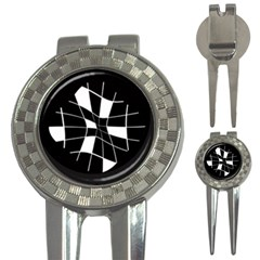 Black and white abstract flower 3-in-1 Golf Divots