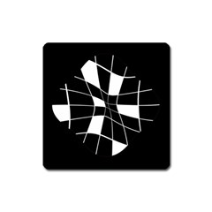 Black and white abstract flower Square Magnet