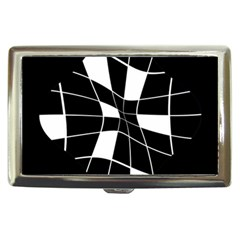 Black and white abstract flower Cigarette Money Cases