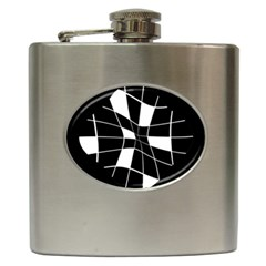 Black and white abstract flower Hip Flask (6 oz)