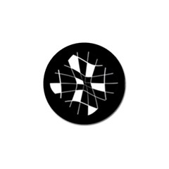 Black and white abstract flower Golf Ball Marker