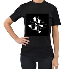 Black and white abstract flower Women s T-Shirt (Black) (Two Sided)