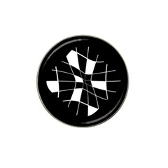 Black and white abstract flower Hat Clip Ball Marker (10 pack)