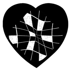 Black and white abstract flower Jigsaw Puzzle (Heart)