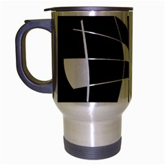 Black and white abstract flower Travel Mug (Silver Gray)