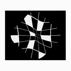 Black and white abstract flower Small Glasses Cloth