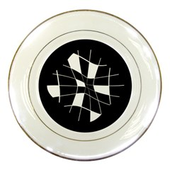 Black and white abstract flower Porcelain Plates