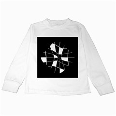 Black and white abstract flower Kids Long Sleeve T-Shirts