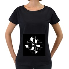 Black and white abstract flower Women s Loose-Fit T-Shirt (Black)