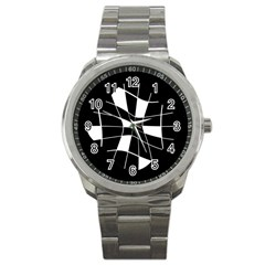 Black and white abstract flower Sport Metal Watch