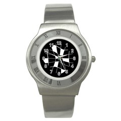 Black and white abstract flower Stainless Steel Watch