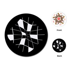 Black and white abstract flower Playing Cards (Round)