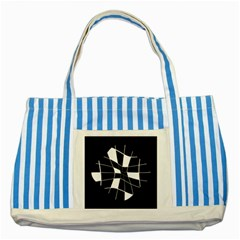 Black and white abstract flower Striped Blue Tote Bag