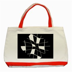 Black and white abstract flower Classic Tote Bag (Red)