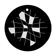 Black and white abstract flower Round Ornament (Two Sides)