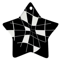 Black and white abstract flower Star Ornament (Two Sides)