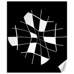 Black and white abstract flower Canvas 8  x 10