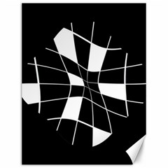 Black and white abstract flower Canvas 12  x 16
