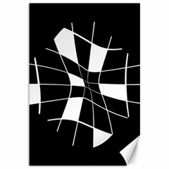 Black and white abstract flower Canvas 12  x 18