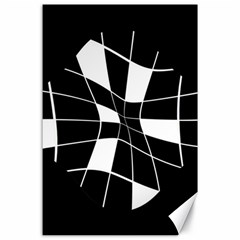 Black and white abstract flower Canvas 24  x 36