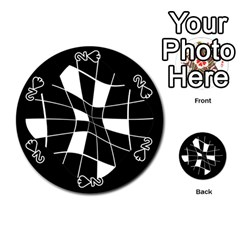 Black and white abstract flower Playing Cards 54 (Round)
