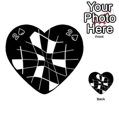 Black and white abstract flower Playing Cards 54 (Heart)
