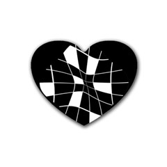 Black and white abstract flower Heart Coaster (4 pack)