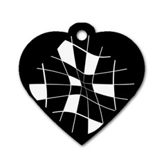 Black and white abstract flower Dog Tag Heart (One Side)