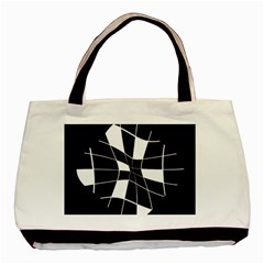 Black and white abstract flower Basic Tote Bag (Two Sides)