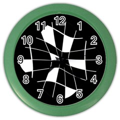 Black and white abstract flower Color Wall Clocks