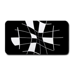 Black and white abstract flower Medium Bar Mats