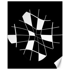 Black and white abstract flower Canvas 11  x 14