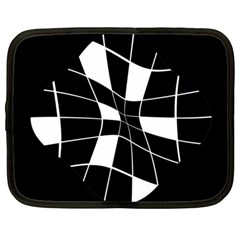Black and white abstract flower Netbook Case (Large)