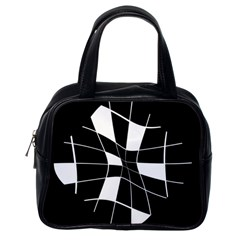 Black and white abstract flower Classic Handbags (One Side)