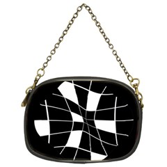 Black and white abstract flower Chain Purses (Two Sides)
