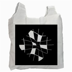 Black and white abstract flower Recycle Bag (Two Side)