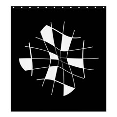 Black and white abstract flower Shower Curtain 66  x 72  (Large)