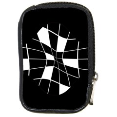 Black and white abstract flower Compact Camera Cases