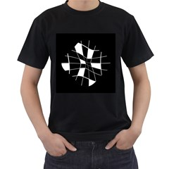 Black and white abstract flower Men s T-Shirt (Black)
