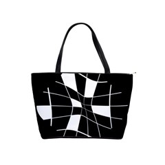 Black and white abstract flower Shoulder Handbags