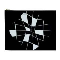 Black and white abstract flower Cosmetic Bag (XL)