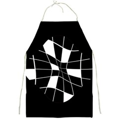 Black and white abstract flower Full Print Aprons