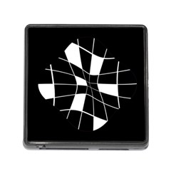 Black and white abstract flower Memory Card Reader (Square)