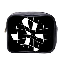 Black and white abstract flower Mini Toiletries Bag 2-Side